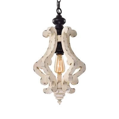 1-Light Matte Black Vintage Distressed Antique White Birch Wood Pendant