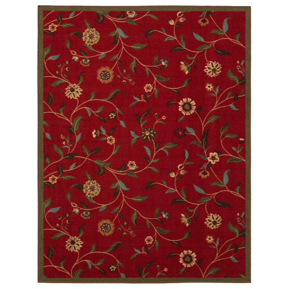 Ottomanson Ottohome Collection Floral Garden Design Dark Red 5 Ft X 7 Ft Non Skid Area Rug Oth2090 5x7 The Home Depot