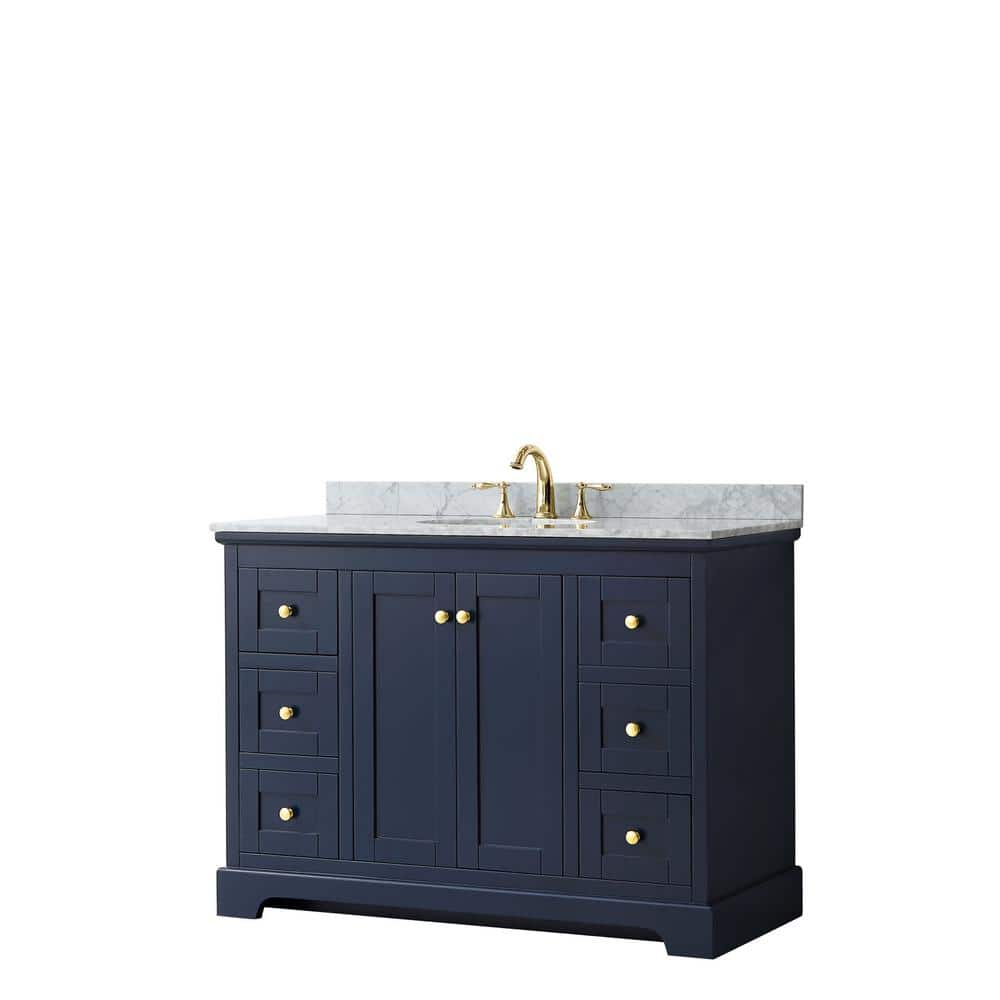 Wyndham Collection Avery 48 In W X 22 In D Bathroom Vanity In Dark Blue With Marble Vanity Top In White Carrara With White Basin Wcv232348sblcmunomxx The Home Depot