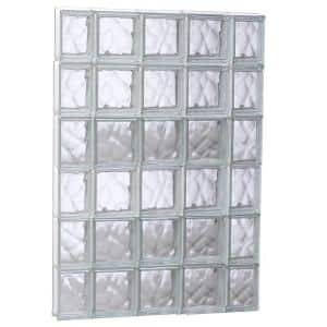 34.75 in. x 46.5 in. x 3.125 in. Frameless Wave Pattern Non-Vented Glass Block Window