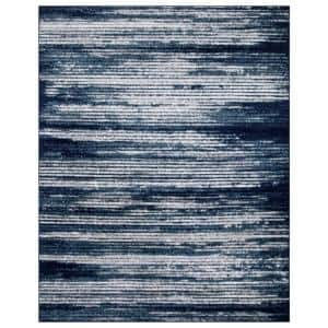 Jasmin Collection Stripes Design Navy and Ivory 7 ft. 8 in. x 9 ft. 8 in. Area Rug