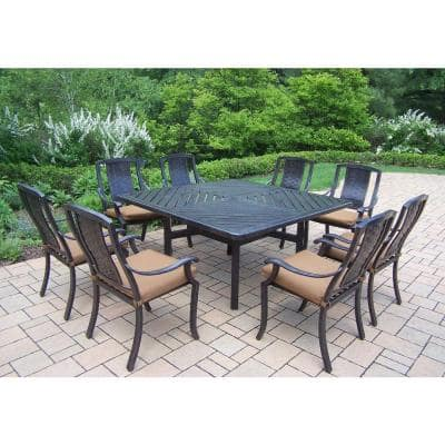 9-Piece Square Aluminum Patio Dining Set with Sunbrella Canvas Teak Cushions