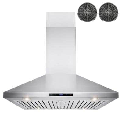 36 in. Convertible Kitchen Island Mount Range Hood in Stainless Steel with Touch Control and Carbon Filter