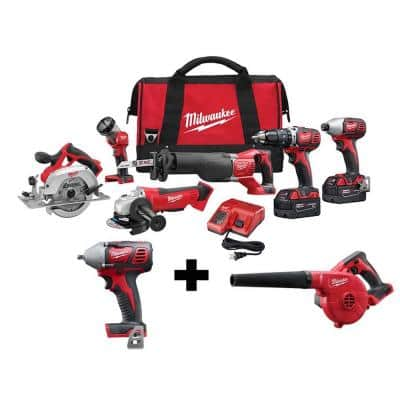 M18 18-Volt Lithium-Ion Cordless Combo Tool Kit (6-Tool) with 3/8 in. Impact Wrench and Blower