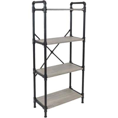 55.50 in. Oak Gray 4-Shelf Standard Bookcase with Black Pipe