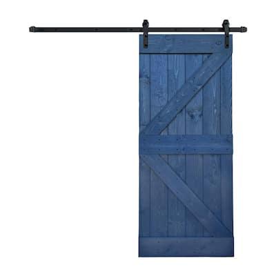 36 in. x 84 in. K-SeriesNavy/FinishKnotty Pine Wood Sliding Barn Door with Hardware Kit