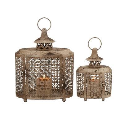 Beige Metal Rustic Candle Lantern (Set of 2)
