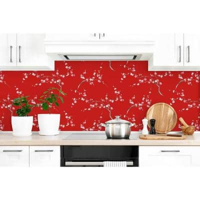 Cherry Blossom Scarlet and Petal Pink Floral Peel and Stick Wallpaper (Covers 30.75 sq. ft.)