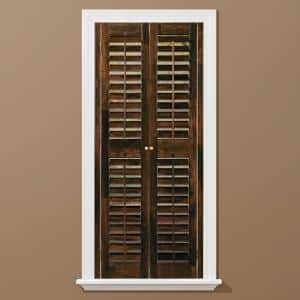 Walnut 2-1/4 in. Plantation Real Wood Interior Shutter 35 to 37 in. W x 48 in. L