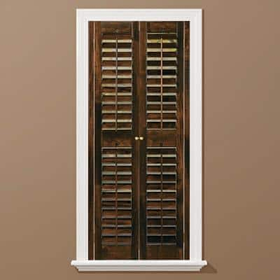 Walnut 2-1/4 in. Plantation Real Wood Interior Shutter 35 to 37 in. W x 54 in. L
