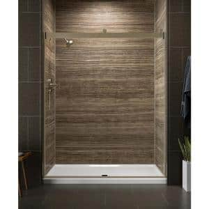 Levity 59 in. x 74 in. Semi-Frameless Sliding Shower Door in Anodized Brushed Bronze with Handle