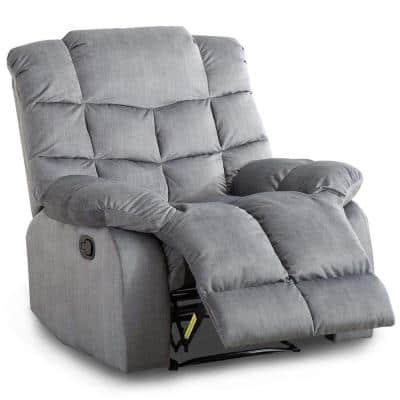 Grey Modern Recliner Chair with Quilted Padded Backrest Heavy Duty Reclining Sofa