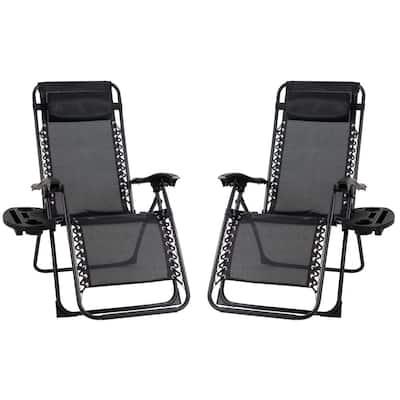 Black Metal Outdoor Patio Premier Recliner Gravity Chair (2-Pack)