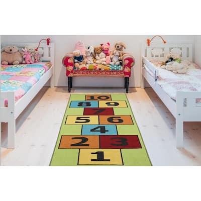Children Garden's Collection Green Background Hopscotch Design 3 ft. x 6 ft. Non-Slip Kids Runner Rug
