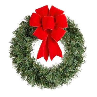 20 in Noble Pine Artificial Christmas Wreath with Red Velvet Bow