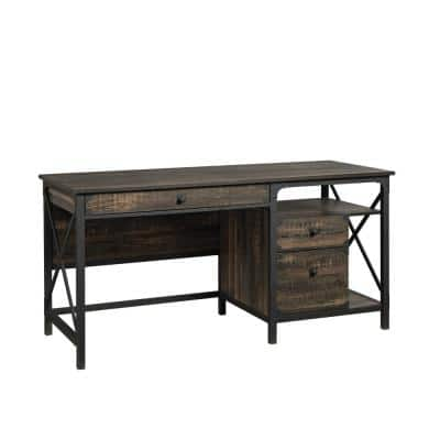 Steel River 60.079 in. Carbon Oak Engineered Wood 3-Drawer Computer Desk with File Storage and Metal Frame