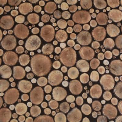 Cut Logs Brown, Beige Vinyl Strippable Roll (Covers 26.6 sq. ft.)