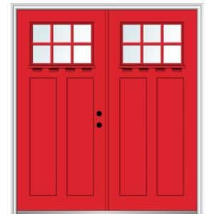 Mmi Door 72 In X 80 In Shaker Right Hand Inswing 6 Lite Clear Low E Painted Fiberglass Smooth Prehung Front Door With Shelf Z028600r The Home Depot