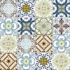 Geo Moroccan Large Multi 11.81 in. x 11.81 in. Square Joint Geometric Gloss Glass Mosaic Wall Tile (0.97 sq. ft./Ea)