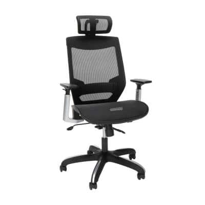 Full Mesh Black Office Chair with Headrest, Lumbar Support