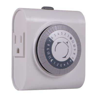 15 Amp 24-Hour Indoor Plug-In Heavy-Duty Timer with 2-Grounded Outlets, White