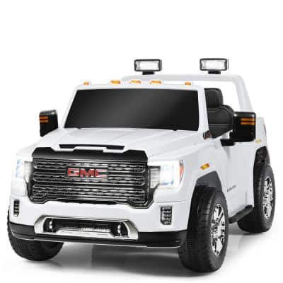 11.5 in. Suitable 3 Plus Kids 12-Volt 2-Seater Licensed GMC Ride on Car White