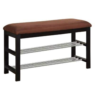 Black/Chocolate Microfiber Shoe Rack Organizer and Bench