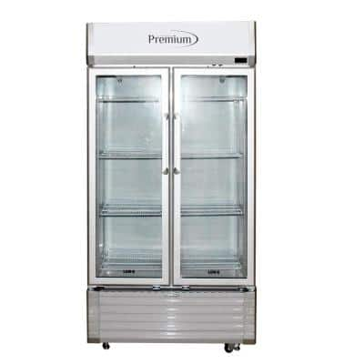 16 cu. ft. Double Door Commercial Refrigerator Beverage Cooler in Gray