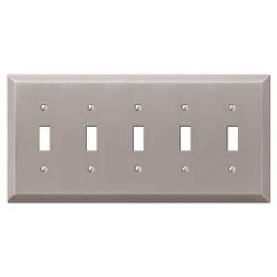 Metallic 5 Gang Toggle Steel Wall Plate - Brushed Nickel