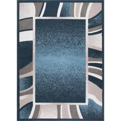 Blue 5 ft. x 7 ft. Border Area Rug