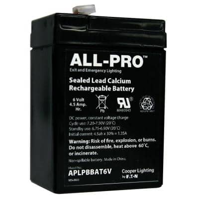 6-Volt 4.5 Amp Hours Replacement Backup Battery for Emergency/Exit Lighting