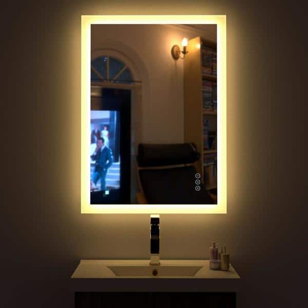 Kinwell 24 In W X 32 H Frameless, Home Depot Bathroom Mirror With Lights
