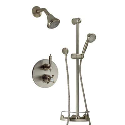 Ornellaia 3-Spray Thermostatic Wall Bar Shower Kit with Shower Faucet and Hand Shower in Brushed Nickel