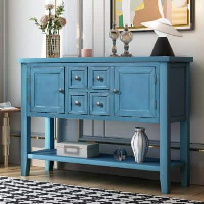 46 in. Rectangle Navy Wood Console Table with 4-Storage Drawers and 2-Cabinets