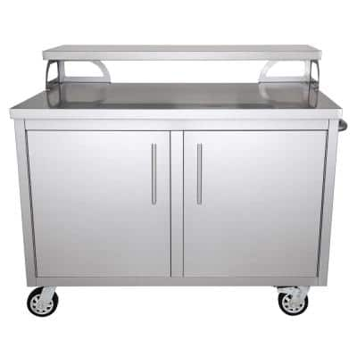 Stainless Steel 42 in. x 43 in. x 28 in. Portable Outdoor Kitchen Cabinet and Patio Bar