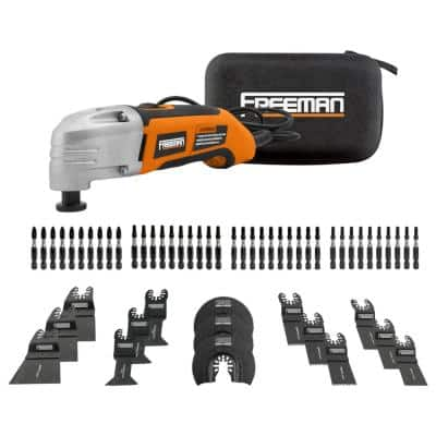 Oscillating Multi-Function Power Tool with Bag and (55-Piece) Impact Driver Bits and Oscillating Blades Kit with Case