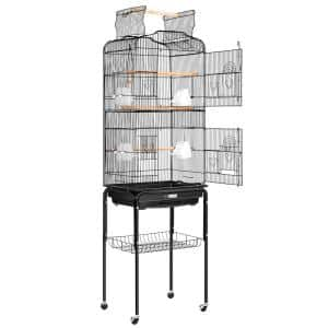 59.8 in. Wrought Iron Bird Cage with Play Top and Rolling Stand