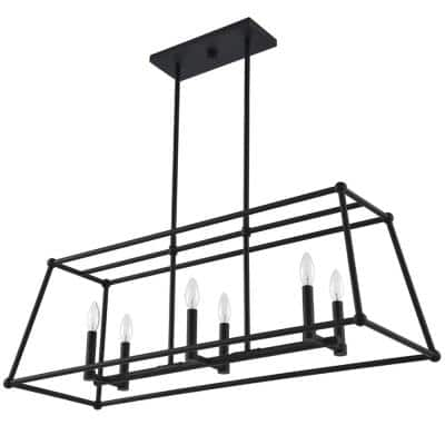 Madison 36.73 in. 6-Light Black Geometric Island Pendant