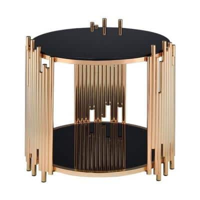 Amelia 22 in. Black Glass And Gold End Table