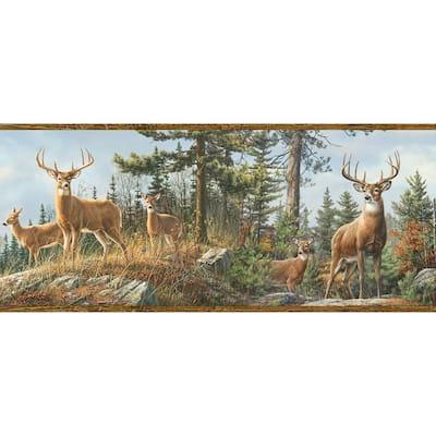 Ashmere Brown Whitetail Crest Brown Wallpaper Border