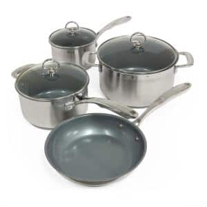 Induction 21 Steel 7-Piece Stainless Steel Ceramic Nonstick Cookware Set in Brushed Stainless Steel