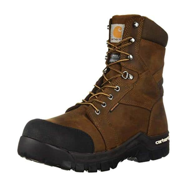 Carhartt Men S Rugged Flex Waterproof 8 Work Boots Composite Toe Brown Size 11 5 W Cmr8939 11 5w The Home Depot