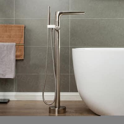 Beaumont Single-Handle Freestanding Floor Mount Tub Filler Faucet with Hand Shower in Brushed Nickel