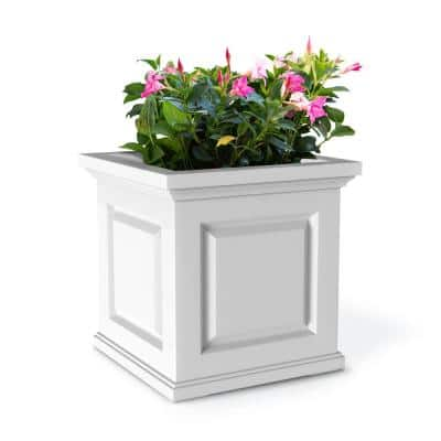 20 in. Square White Resin Self-Watering Nantucket Planter