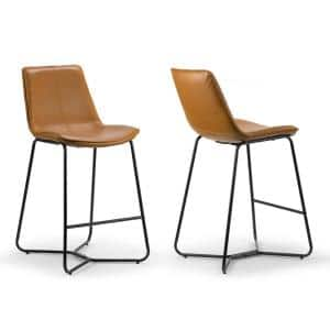 Amery 25.75 in. Cappuccino Iron Frame Vintage Faux Leather Counter Stool (Set of 2)