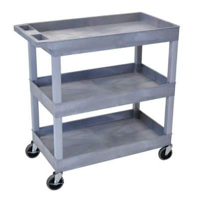 18 in. x 35 in. 3-Tub Shelf Utility Cart, Gray