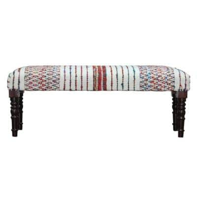 Colorful 47 in. Multi-Color Viscose Chevron Striped Chindi Bench with Wood Legs