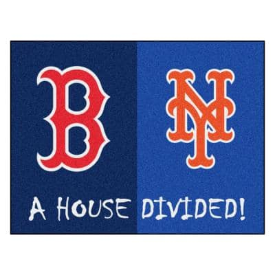 MLB House Divided - Red Sox / Mets 33.75 in. x 42.5 in. House Divided Mat Area Rug