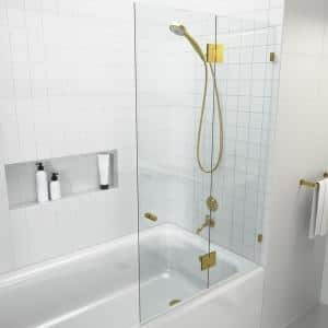 Glass Warehouse 31 5 In X 58 In Frameless Wall Hinged Bathtub Door In Polished Brass Gw B Do 31 5 Pb The Home Depot