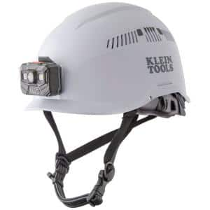 Safety Helmet, Vented-Class C, with Rechargeable Headlamp, White